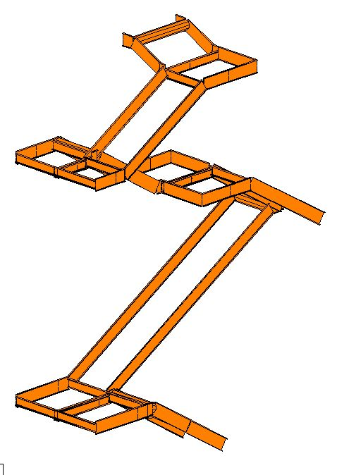 STAAD Model of stair system used for structural calculations on project for a miscellaneous steel fabricator