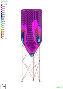 Bulk material storage silo FEA results