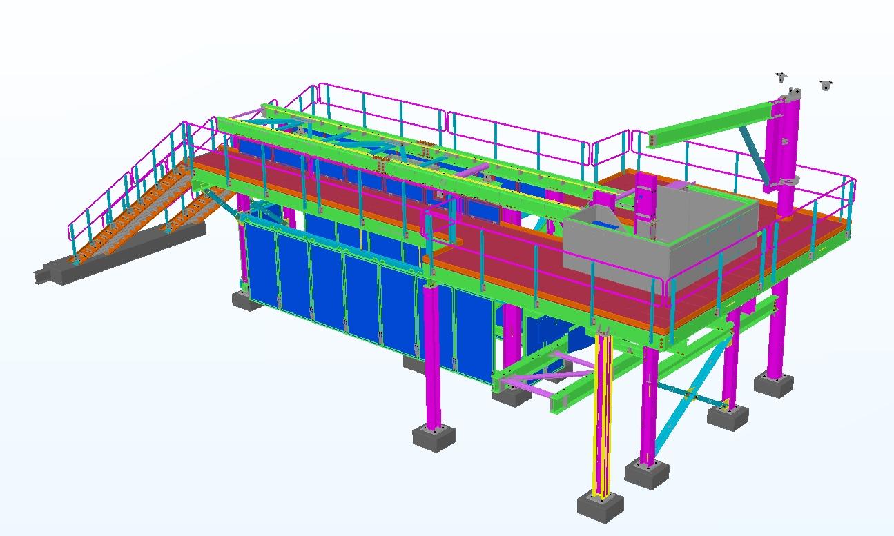 Underground Conveyor Transfer Structure,Rendering from Tekla model